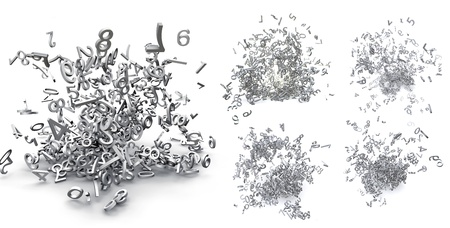 decimal: Set of exploded 3d numbers