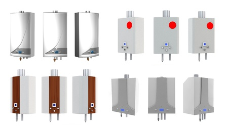 thermodynamic: Gas boilers isolated on a white background.