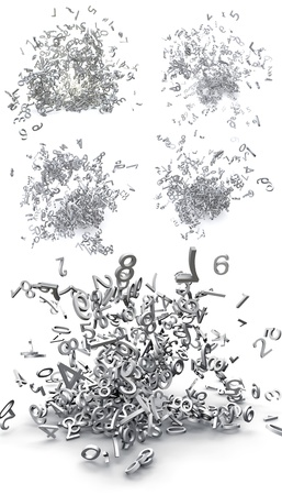 chaos theory: Set of exploded 3d numbers