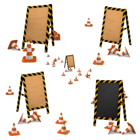 under construction. collection of wooden boards with traffic cones. photo