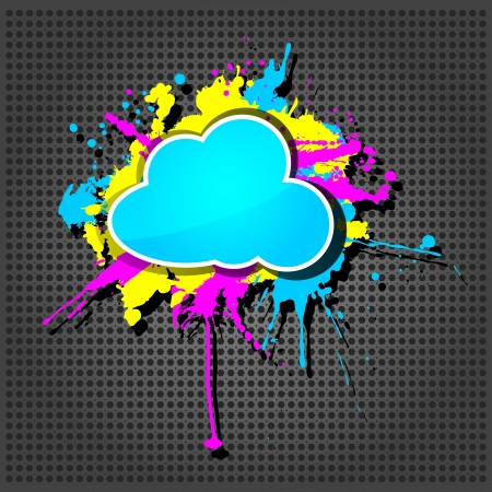 hosting cloud: Cute  grunge cloud computing icon frame on the metallic background
