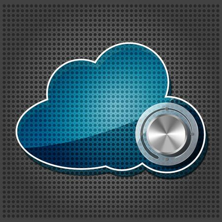 hosting cloud: Chrome volume knob with transparency cloud computing icon plate on the metallic background Illustration