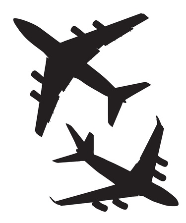 plane landing: Four-engine jet airliners in the air isolated on white background Illustration