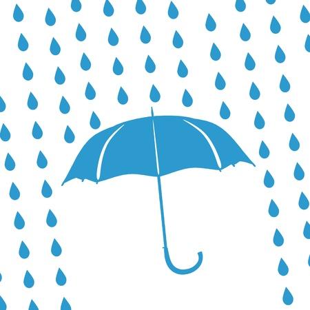 дождь: синий зонтик и капли дождя Иллюстрация