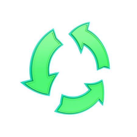 green, shiny recycling symbol made from arrows photo