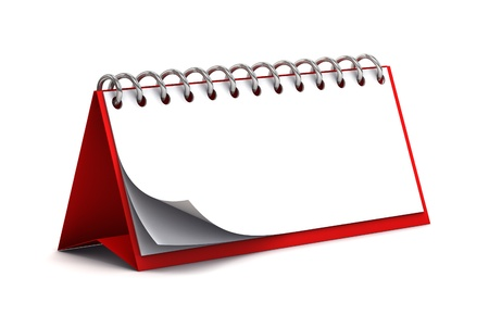 Blank  3d red desk paper calendar