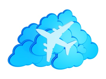 jetplane: 3d clouds with silhouette of jet airliner icon isolated on white background
