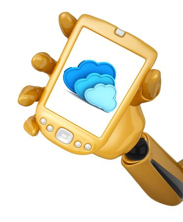 Gold 3d robotic hand hold a gold mobile phone with 3d cloud computing icon. Including  photo