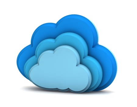 3d cloud computing icon on a white background  Standard-Bild