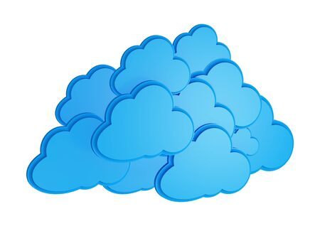 3d cloud computing icon isolated on a white background