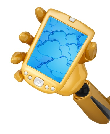 Gold 3d robotic hand hold a gold mobile phone with 3d cloud computing icon background. Including Stock Photo - 15101337