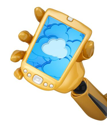 Gold 3d robotic hand hold a gold pda with cloud computing background. Including  photo