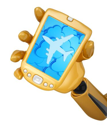 Gold 3d robotic hand hold a gold mobile phone with 3d clouds and silhouette of jet airliner icon.  photo