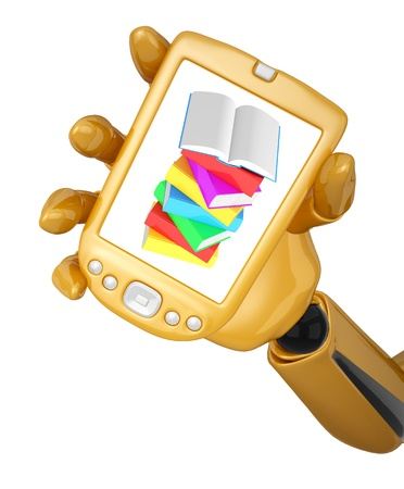 Gold 3d robotic hand hold a gold mobile phone with stack of multicolored books with open book. Including  photo
