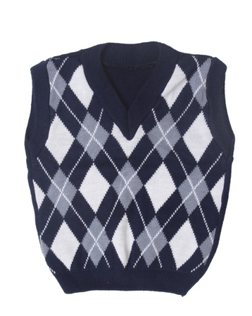 plaid baby knitted vest on a white background   版權商用圖片