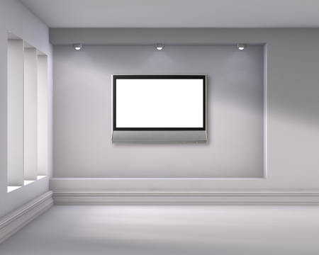 3d empty niche with spotlights and lcd tv for exhibit in the bright interior  photo