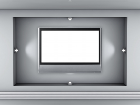3d empty niche with spotlights and lcd tv for exhibit in the grey interior photo