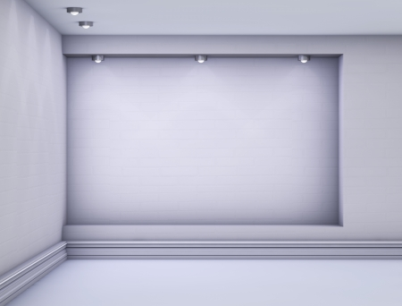3d empty niche with spotlights for exhibit in the grey interior.  photo