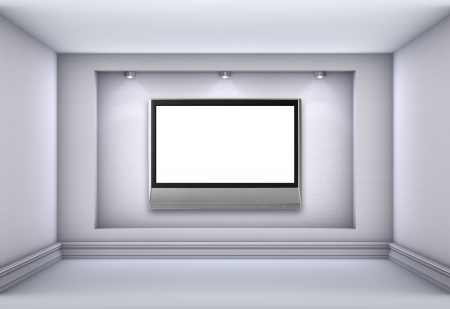 niche: 3d niche with spotlights and empty lcd tv for exhibit in the grey interior.  Stock Photo