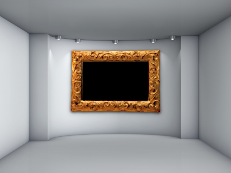 niche: 3d empty niche with spotlights and picture frame for exhibit in the grey interior