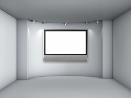 lcd: 3d empty niche with spotlights and lcd tv for exhibit in the grey interior