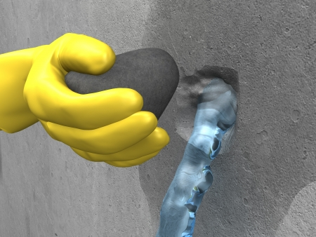 yellow-gloved hand put the plug (extra-rapid cement) in the hole with streaming water photo