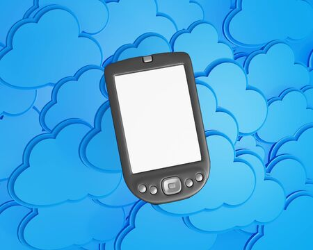 3d mobile phone with cloud computing background photo