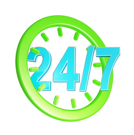 aftersale: twenty four hour seven days a week service sign  Stock Photo