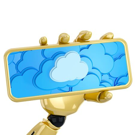 superiority: 3d robotic hand hold plate with cloud computing background