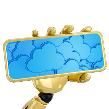 hdd: 3d robotic hand hold plate with cloud computing background