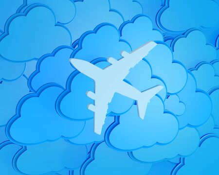 3d clouds with silhouette of jet airliner icon photo