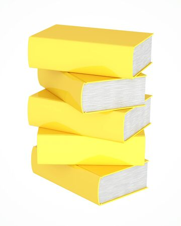 Stack of golden books on white background photo