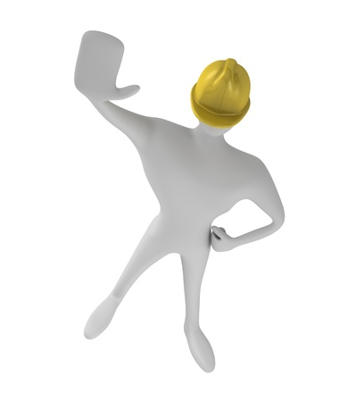 3d construction worker with stop gesture Stock Photo - 15101182