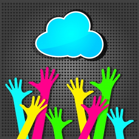 happy colorful hands with blue cloud on the metallic background  Vector