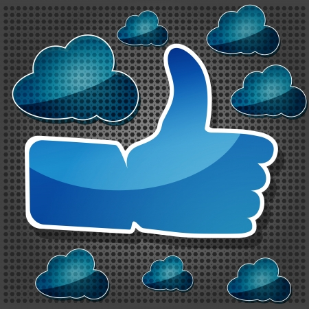 blue Like symbol with transparency blue clouds on the metallic background Vector