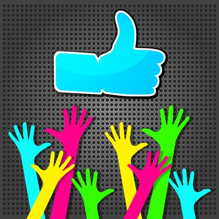 Happy hands with Like symbol on a metallic background Vector