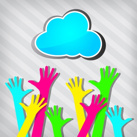 happy colorful hands with blue cloud on a stripped background