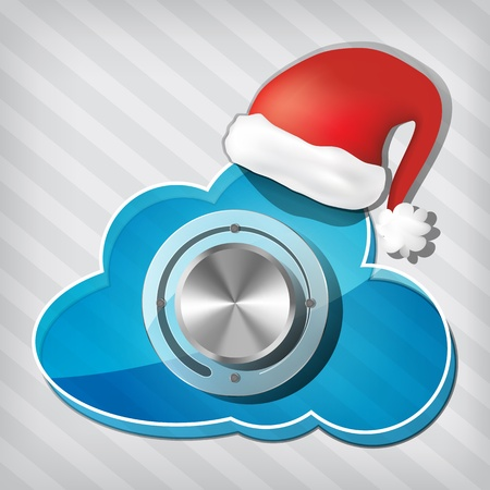 Chrome volume knob on transparency cloud with santa claus hat on a stripped background  Vector