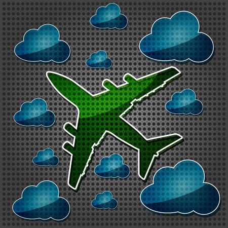 transparency Four-engine jet airliners in the air with blue cloud computing icon on the metallic background Stock Vector - 15476382