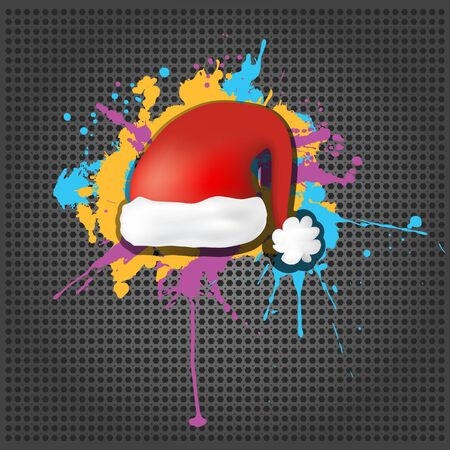 Cute grunge Red Santa Claus Hat on the metallic background Stock Vector - 15476449