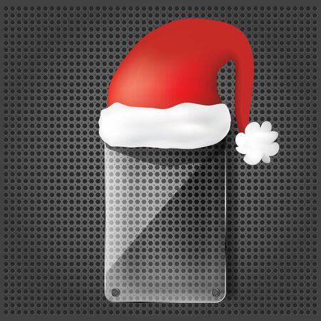 transparency glass plate with santa claus hat on the metallic background  Vector