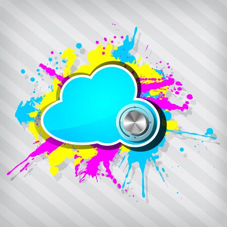 Cute grunge cloud computing icon frame with chrome volume on a stripped background  Vector
