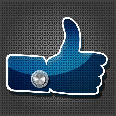 transparency blue 'Like' symbol with Chrome volume knob  on the metallic background  Vector