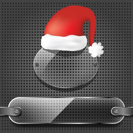 transparency plates with santa claus hat on the metallic background  Vector
