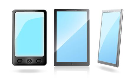 pocket pc: Mobile phones with a blank screens on a white background