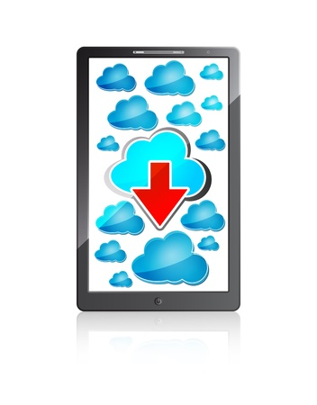 mobile phone with blue cloud computing icons and red arrow on a white background  Vector