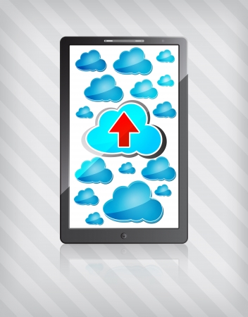 mobile phone with blue clouds and red upload arrow on a stripped background  Vector