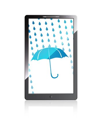 Mobile phone with blue umbrella and rain drops  Vector