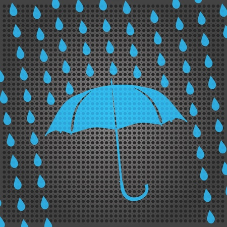 blue umbrella and rain drops on the metallic background Stock Vector - 15476428