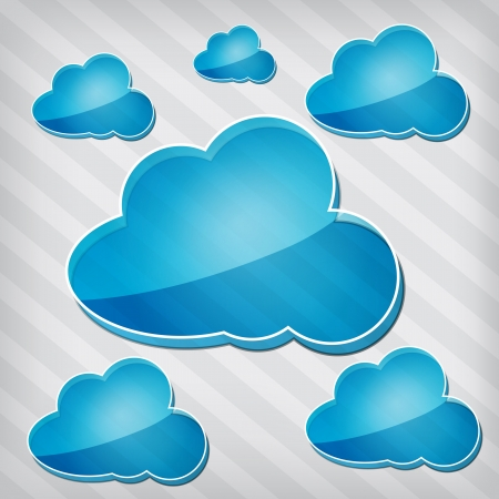 strippad: öppenhet blå moln på en avskalad bakgrund